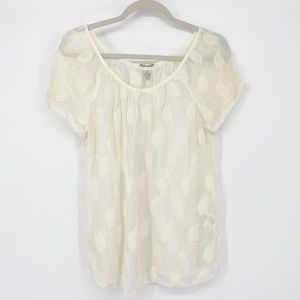 Lucky Brand Vintage Lace Rayon Sheer Top Sz M